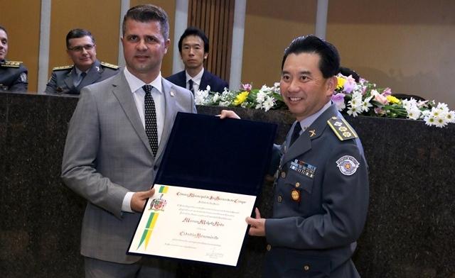 Marcos Makoto Noda, tenente-coronel da Polícia Militar, é um Cidadão Benemérito de São Bernardo do Campo